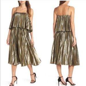 J CREW Lamè Metallic Pleated Holiday Midi Dress